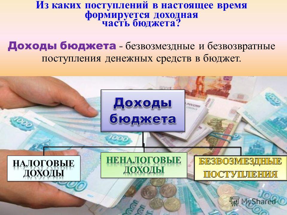 Из каких поступлений в настоящее время формируется доходная часть бюджета? Доходы бюджета - безвозмездные и безвозвратные поступления денежных средств в бюджет.
