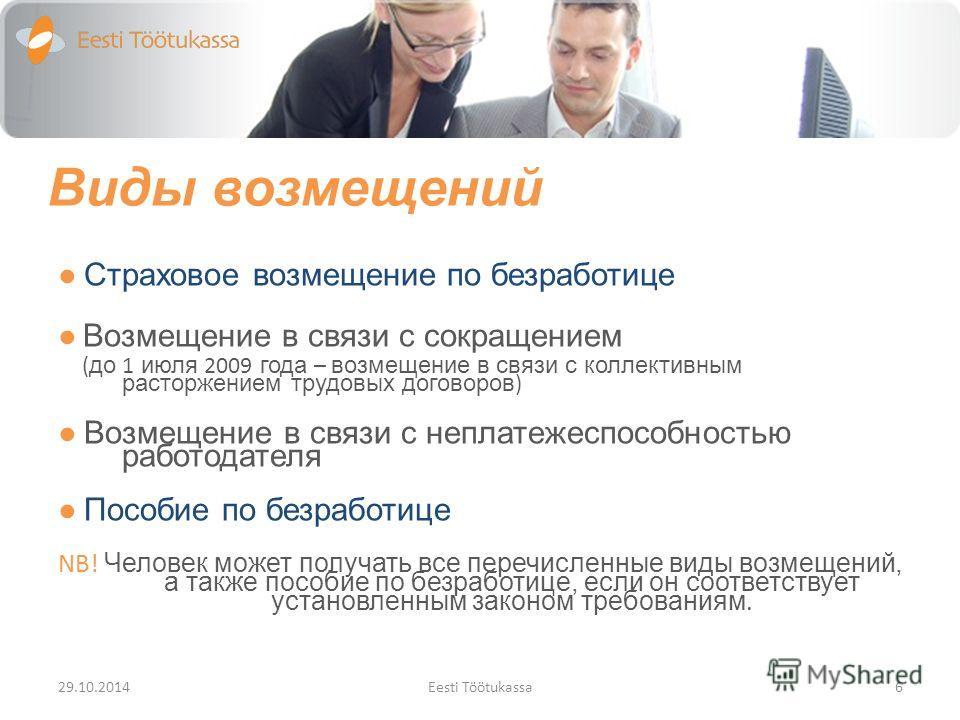 Виды возмещений Страховое возмещение по безработице Возмещение в связи с сокращением ( до 1 июля 2009 года – возмещение в связи с коллективным расторжением трудовых договоров ) Возмещение в связи с неплатежеспособностью работодателя Пособие по безраб