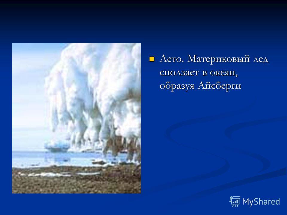 Лето. Материковый лед сползает в океан, образуя Айсберги