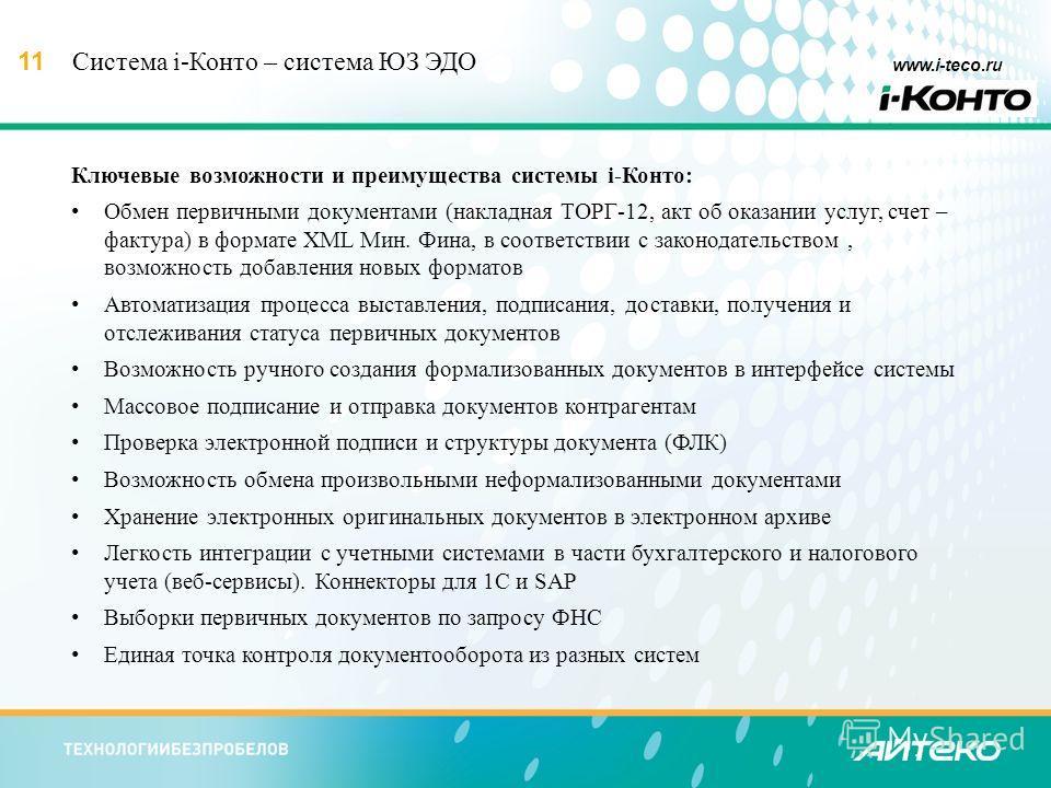 11 www.i-teco.ru Система i-Конто – система ЮЗ ЭДО Ключевые возможности и преимущества системы i-Конто: Обмен первичными документами (накладная ТОРГ-12, акт об оказании услуг, счет – фактура) в формате XML Мин. Фина, в соответствии с законодательством