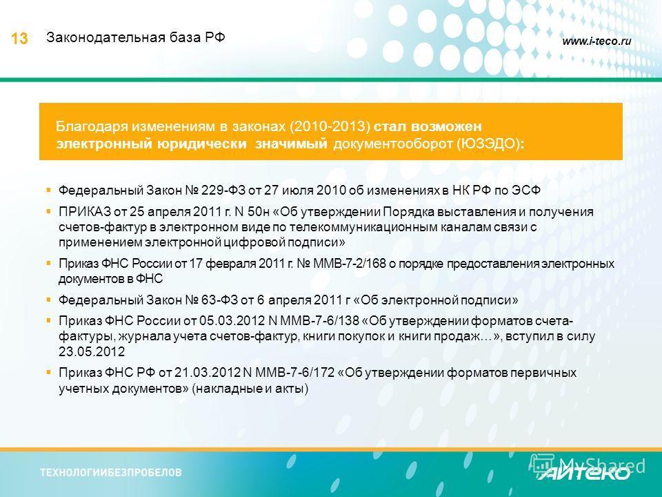 13 www.i-teco.ru Федеральный Закон 229-ФЗ от 27 июля 2010 об изменениях в НК РФ по ЭСФ ПРИКАЗ от 25 апреля 2011 г. N 50 н «Об утверждении Порядка выставления и получения счетов-фактур в электронном виде по телекоммуникационным каналам связи с примене
