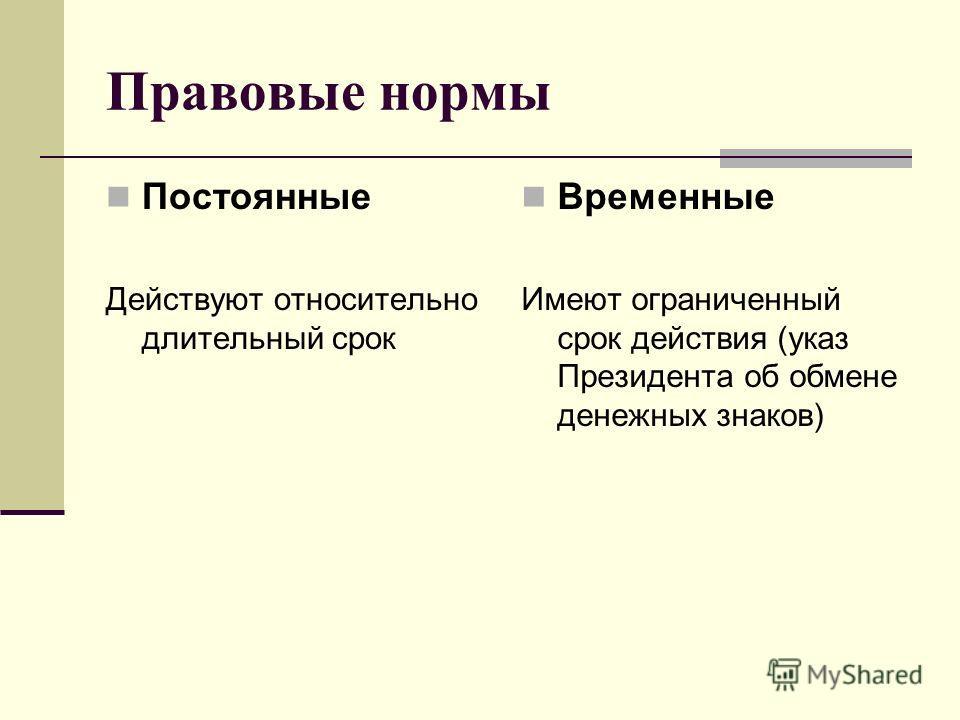 Правовые нормы Постоянные Действуют относительно длительный срок Временные Имеют ограниченный срок действия (указ Президента об обмене денежных знаков)