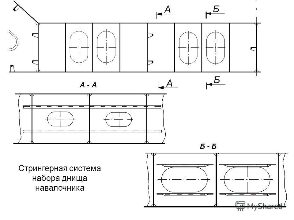 А - А Б - Б Стрингерная система набора днища навалочника