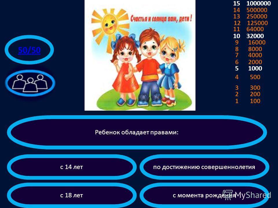 Дети имеют равные права при условии: если они родились в законном браке независимо от различных обстоятельств равного социального положения 3 300 4 500 5 1000 6 2000 7 4000 8 8000 9 16000 10 32000 11 64000 12 125000 13 250000 14 500000 15 1000000 2 2