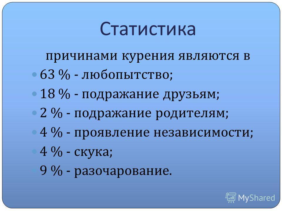Статистика причинами курения являются в 63 % - любопытство ; 18 % - подражание друзьям ; 2 % - подражание родителям ; 4 % - проявление независимости ; 4 % - скука ; 9 % - разочарование.