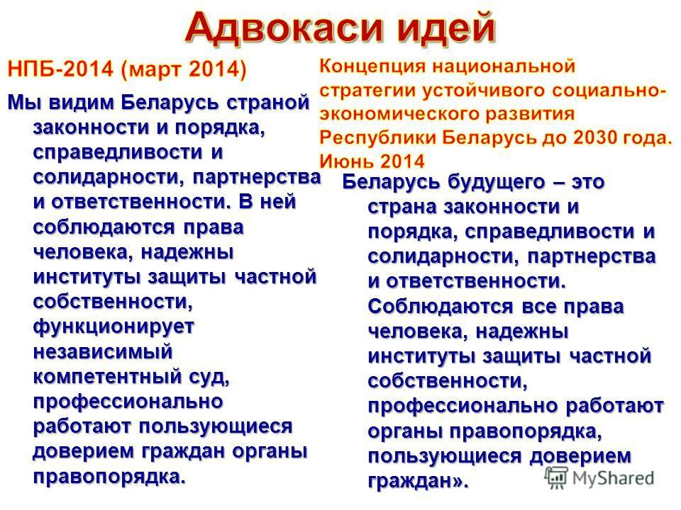 Мы видим Беларусь страной законности и порядка, справедливости и солидарности, партнерства и ответственности. В ней соблюдаются права человека, надежны институты защиты частной собственности, функционирует независимый компетентный суд, профессиональн