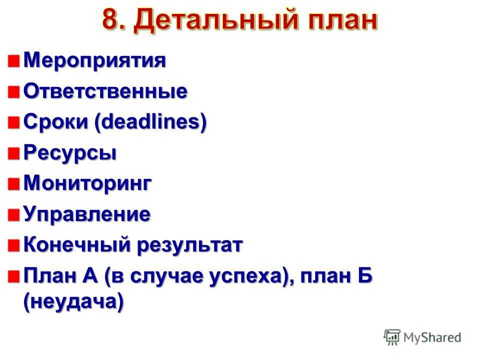 Мероприятия Ответственные Сроки (deadlines) Ресурсы МониторингУправление Конечный результат План А (в случае успеха), план Б (неудача)