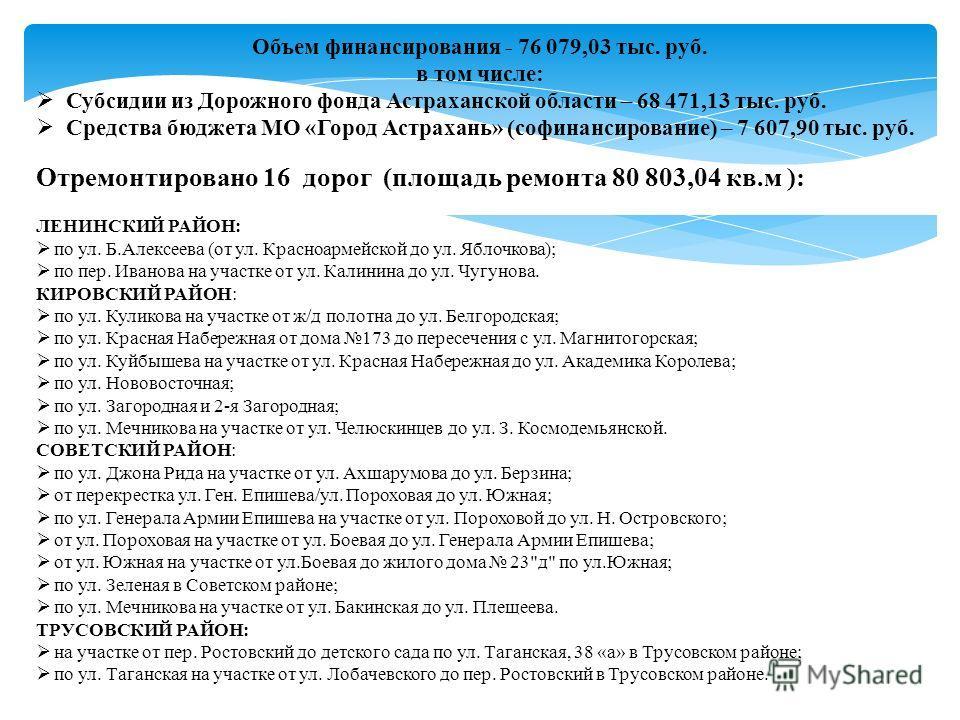 Объем финансирования - 76 079,03 тыс. руб. в том числе: Субсидии из Дорожного фонда Астраханской области – 68 471,13 тыс. руб. Средства бюджета МО «Город Астрахань» (софинансирование) – 7 607,90 тыс. руб. Отремонтировано 16 дорог (площадь ремонта 80