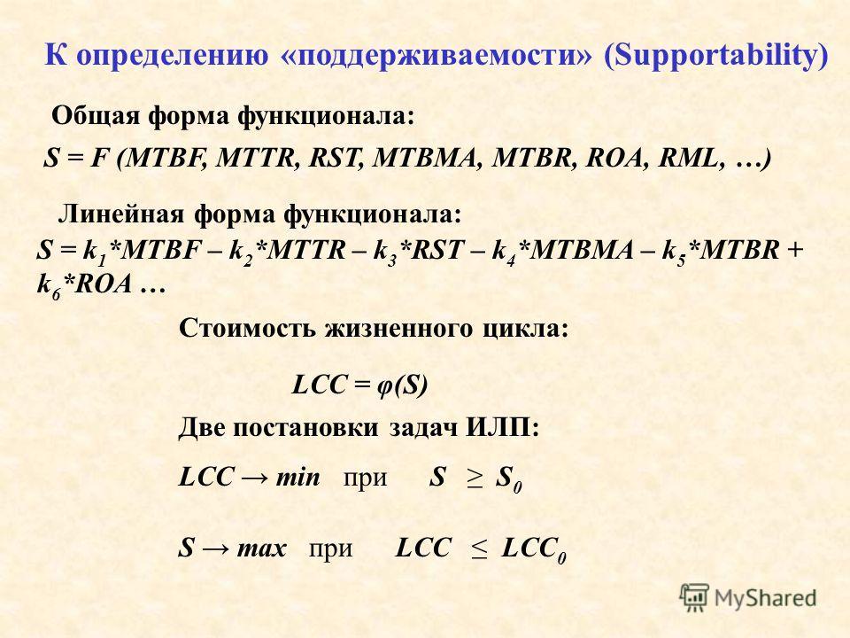 S = F (MTBF, MTTR, RST, MTBMA, MTBR, ROA, RML, …) S = k 1 *MTBF – k 2 *MTTR – k 3 *RST – k 4 *MTBMA – k 5 *MTBR + k 6 *ROA … LCC = φ(S) LCC min при S S 0 S max при LCC LCC 0 К определению «поддерживаемости» (Supportability) Общая форма функционала: Л
