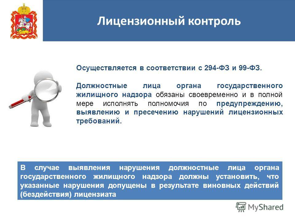 Лицензионный контроль Осуществляется в соответствии с 294-ФЗ и 99-ФЗ. Должностные лица органа государственного жилищного надзора обязаны своевременно и в полной мере исполнять полномочия по предупреждению, выявлению и пресечению нарушений лицензионны