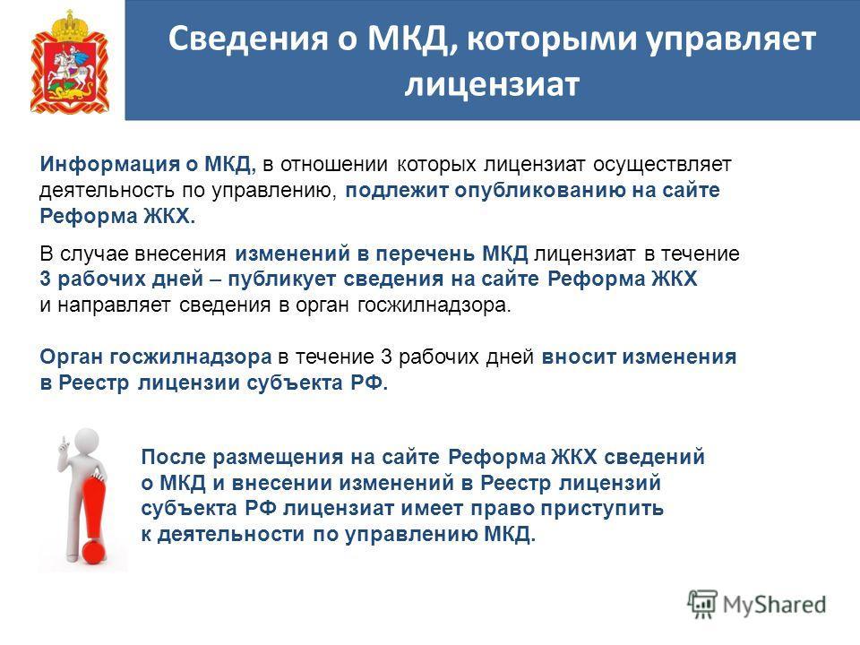 Сведения о МКД, которыми управляет лицензиат Информация о МКД, в отношении которых лицензиат осуществляет деятельность по управлению, подлежит опубликованию на сайте Реформа ЖКХ. В случае внесения изменений в перечень МКД лицензиат в течение 3 рабочи