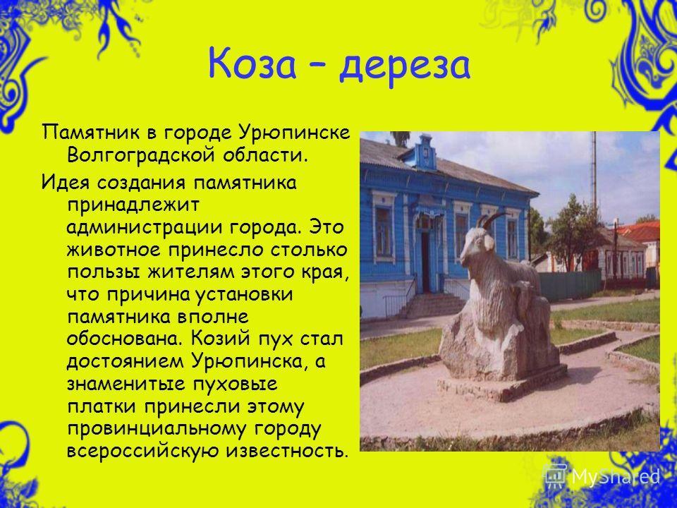 Коза – дереза Памятник в городе Урюпинске Волгоградской области. Идея создания памятника принадлежит администрации города. Это животное принесло столько пользы жителям этого края, что причина установки памятника вполне обоснована. Козий пух стал дост