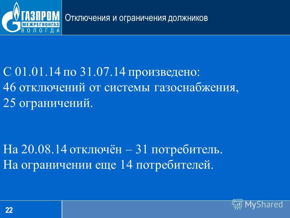 С 01.01.14 по 31.07.14 произведено: 46 отключений от системы газоснабжения, 25 ограничений. На 20.08.14 отключён – 31 потребитель. На ограничении еще 14 потребителей. 22 Отключения и ограничения должников