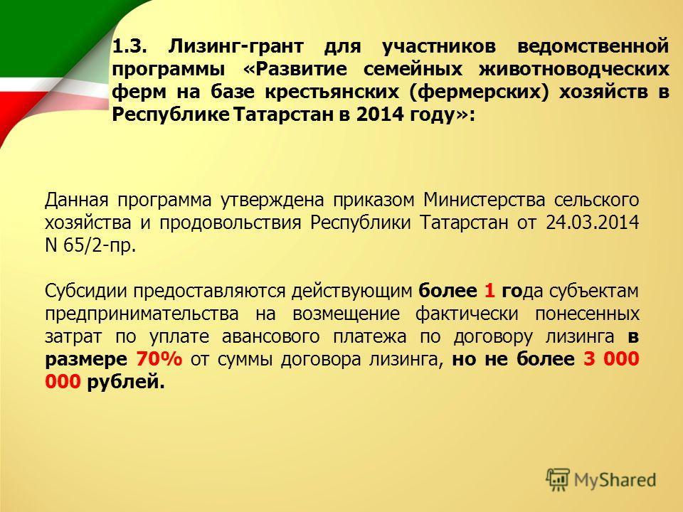 Данная программа утверждена приказом Министерства сельского хозяйства и продовольствия Республики Татарстан от 24.03.2014 N 65/2-пр. Субсидии предоставляются действующим более 1 года субъектам предпринимательства на возмещение фактически понесенных з
