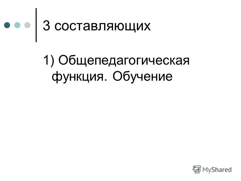 3 составляющих 1) Общепедагогическая функция. Обучение