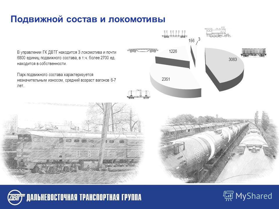 В управлении ГК ДВТГ находится 3 локомотива и почти 6800 единиц подвижного состава, в т.ч. более 2700 ед. находится в собственности. Парк подвижного состава характеризуется незначительным износом, средний возраст вагонов 6-7 лет. Подвижной состав и л