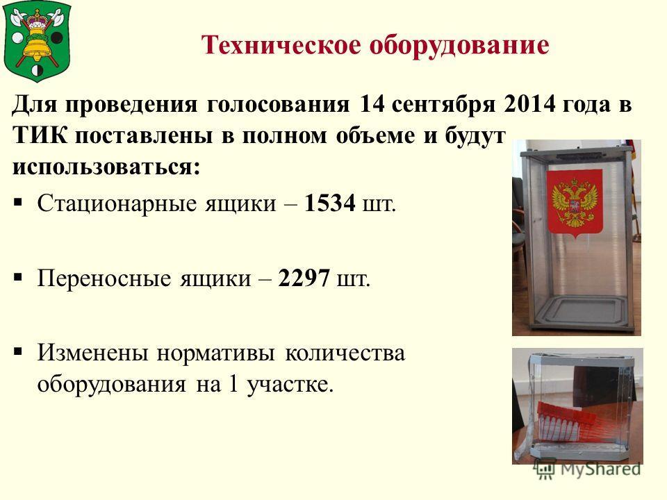Техничес кое оборудование Для проведения голосования 14 сентября 2014 года в ТИК поставлены в полном объеме и будут использоваться: Стационарные ящики – 1534 шт. Переносные ящики – 2297 шт. Изменены нормативы количества оборудования на 1 участке.