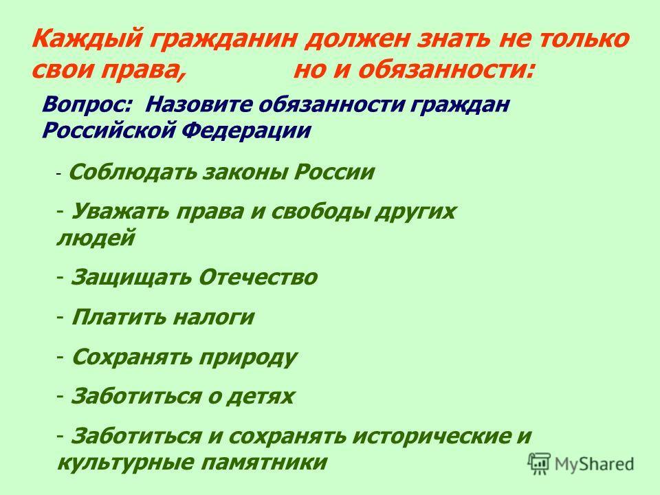 Каждый гражданин должен знать не только свои права, но и обязанности: Вопрос: Назовите обязанности граждан Российской Федерации - Соблюдать законы России - Уважать права и свободы других людей - Защищать Отечество - Платить налоги - Сохранять природу