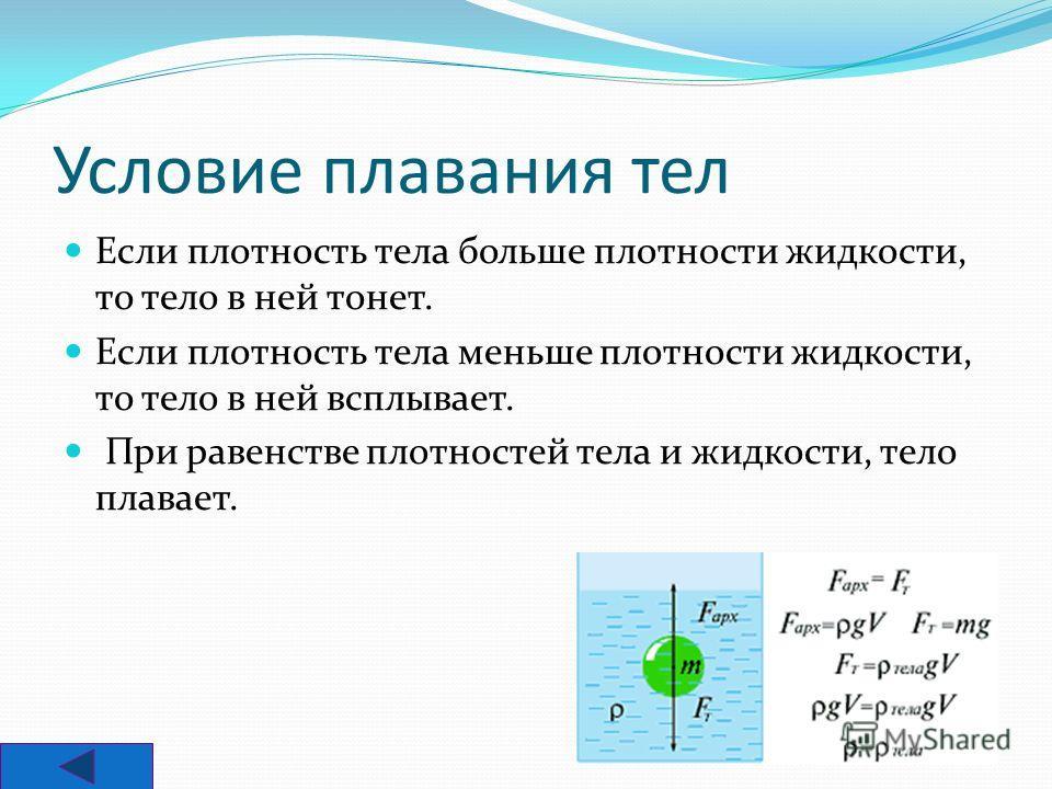 Архидед открыл три условия, которые стали основой науки о плавании 1. Если F АРХ.>mg - тело всплывает, до тех пор, пока силы не уравновесятся. 2. F АРХ.
