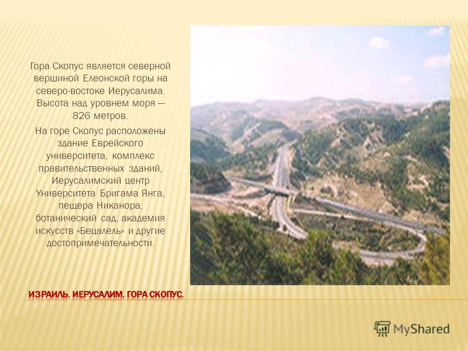 Гора Скопус является северной вершиной Елеонской горы на северо-востоке Иерусалима. Высота над уровнем моря 826 метров. На горе Скопус расположены здание Еврейского университета, комплекс правительственных зданий, Иерусалимский центр Университета Бри