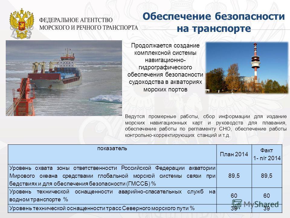 88 Продолжается создание комплексной системы навигационно- гидрографического обеспечения безопасности судоходства в акваториях морских портов Обеспечение безопасности на транспорте Ведутся промерные работы, сбор информации для издание морских навигац