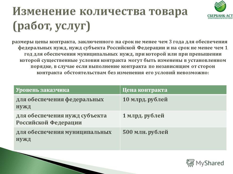 размеры цены контракта, заключенного на срок не менее чем 3 года для обеспечения федеральных нужд, нужд субъекта Российской Федерации и на срок не менее чем 1 год для обеспечения муниципальных нужд, при которой или при превышении которой существенные
