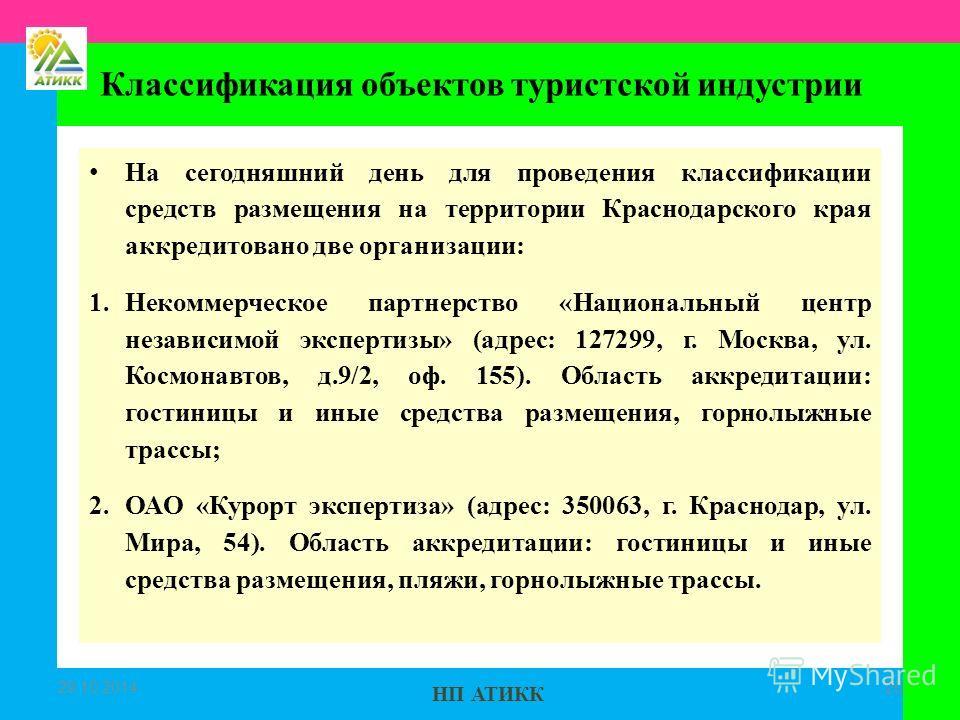 НП АТИКК На сегодняшний день для проведения классификации средств размещения на территории Краснодарского края аккредитовано две организации: 1. Некоммерческое партнерство «Национальный центр независимой экспертизы» (адрес: 127299, г. Москва, ул. Кос