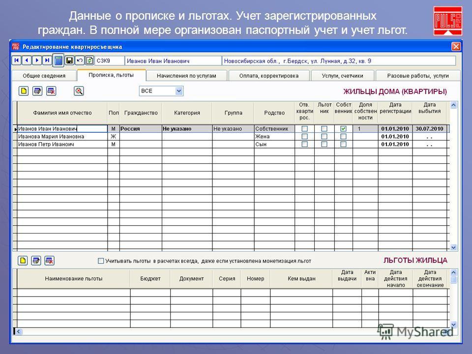 Данные о прописке и льготах. Учет зарегистрированных граждан. В полной мере организован паспортный учет и учет льгот.