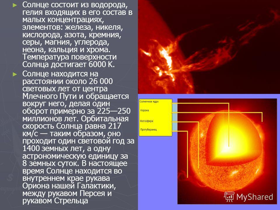 Солнце состоит из водорода, гелия входящих в его состав в малых концентрациях, элементов: железа, никеля, кислорода, азота, кремния, серы, магния, углерода, неона, кальция и хрома. Температура поверхности Солнца достигает 6000 K. Солнце находится на