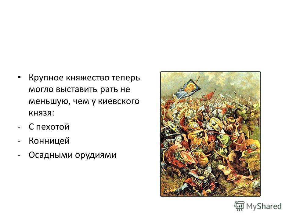 Крупное княжество теперь могло выставить рать не меньшую, чем у киевского князя: -С пехотой -Конницей -Осадными орудиями