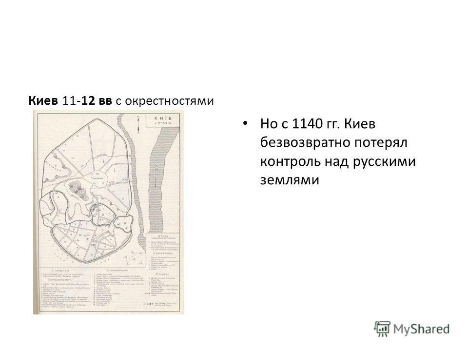 Киев 11-12 вв с окрестностями Но с 1140 гг. Киев безвозвратно потерял контроль над русскими землями