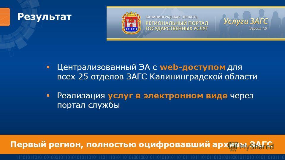 Результат Централизованный ЭА с web-доступом для всех 25 отделов ЗАГС Калининградской области Реализация услуг в электронном виде через портал службы Первый регион, полностью оцифровавший архивы ЗАГС