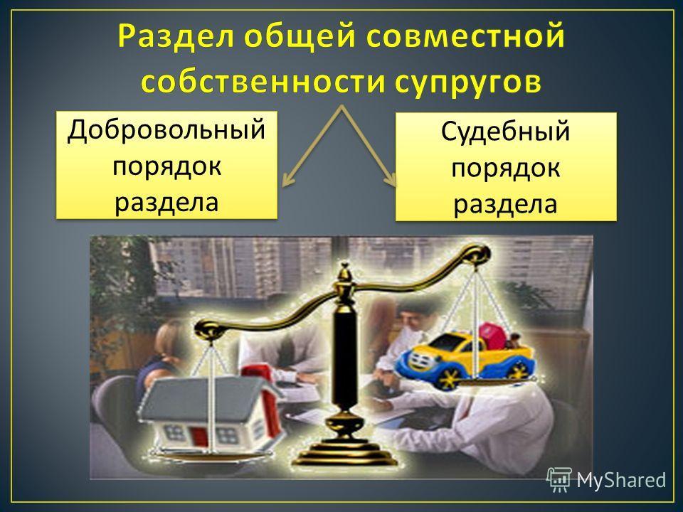 Добровольный порядок раздела Судебный порядок раздела