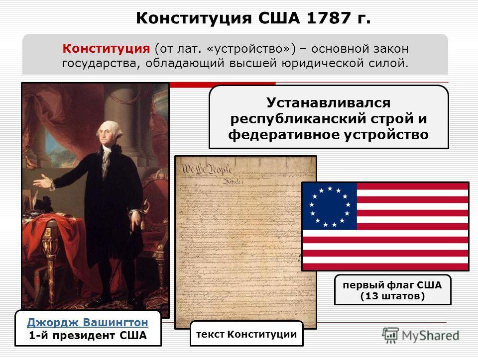 Конституция США 1787 г. Джордж Вашингтон 1-й президент США Конституция (от лат. «устройство») – основной закон государства, обладающий высшей юридической силой. Устанавливался республиканский строй и федеративное устройство текст Конституции первый ф