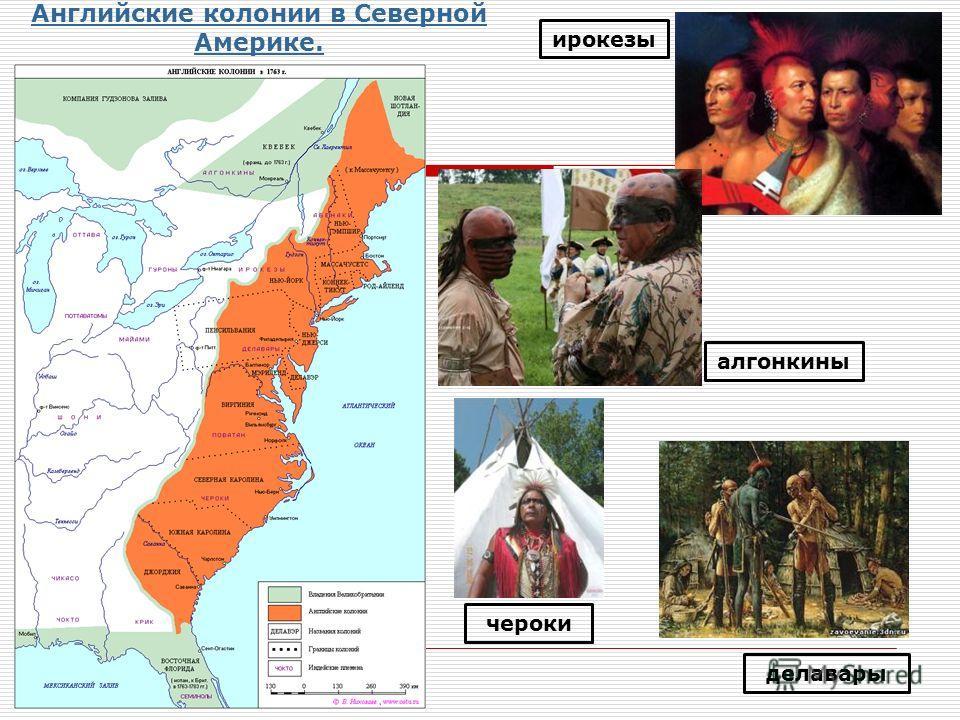 Английские колонии в Северной Америке. ирокезы алгонкины делавары чероки