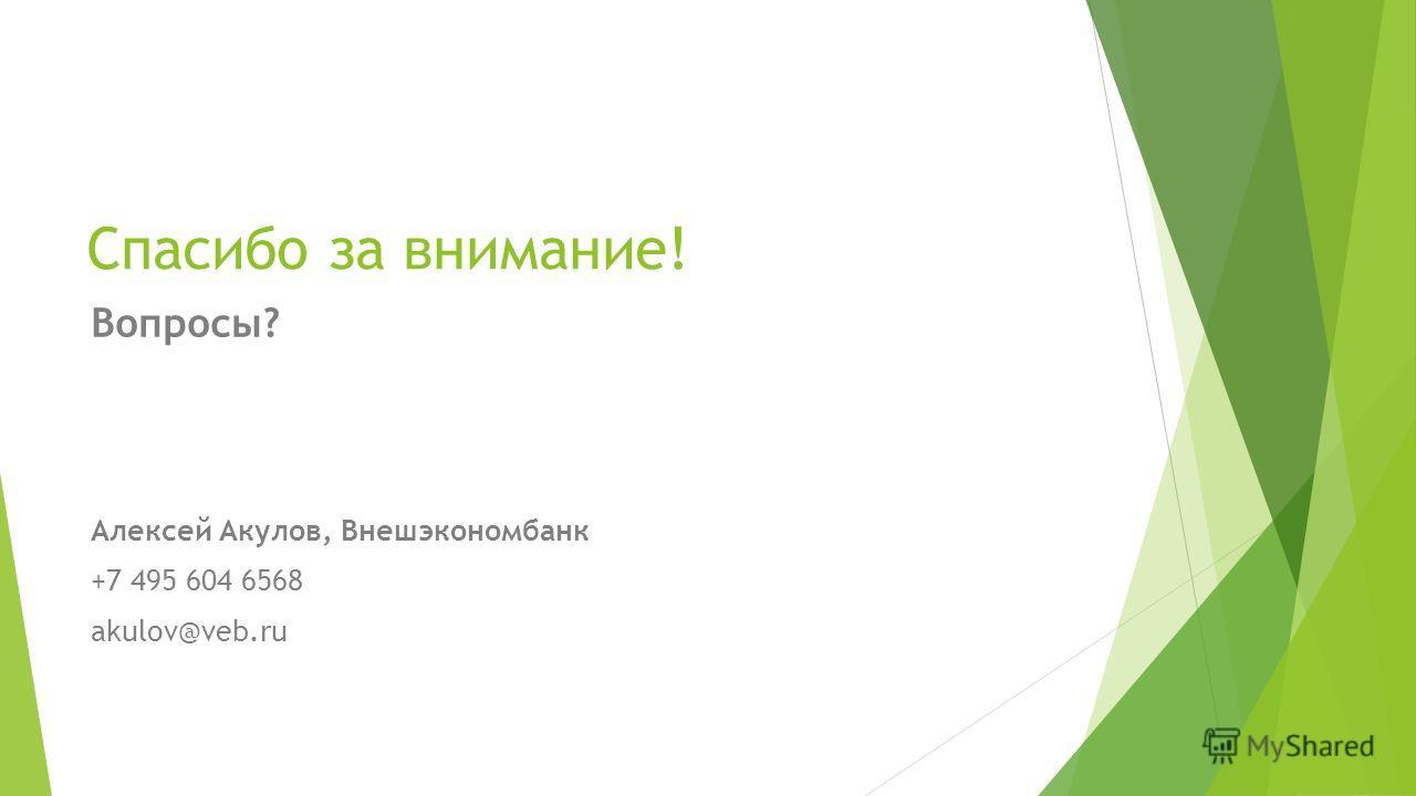 Спасибо за внимание! Вопросы? Алексей Акулов, Внешэкономбанк +7 495 604 6568 akulov@veb.ru
