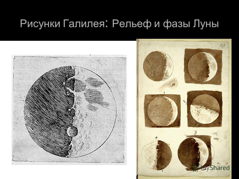 Рисунки Галилея : Рельеф и фазы Луны