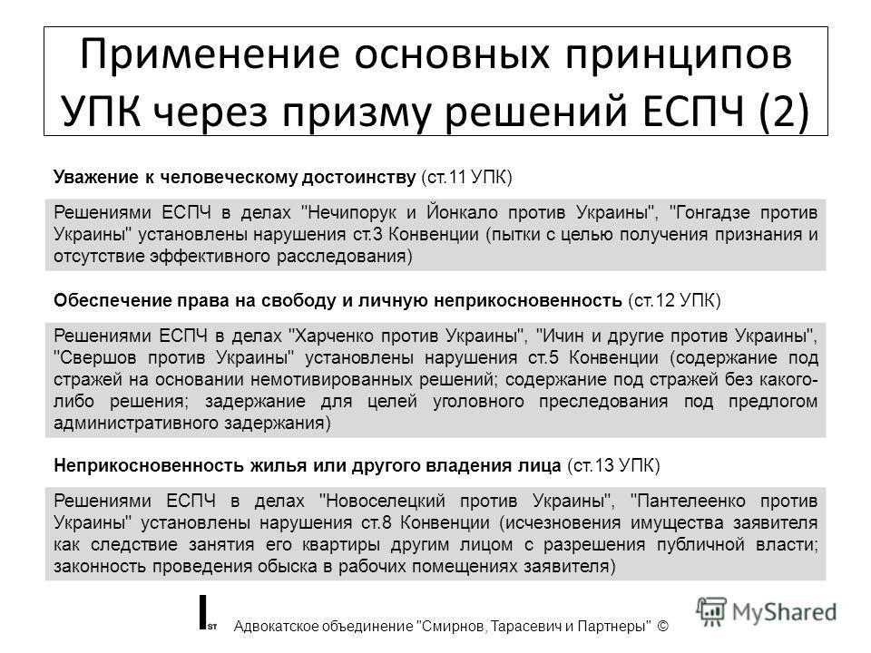 Применение основных принципов УПК через призму решений ЕСПЧ (2) Адвокатское объединение