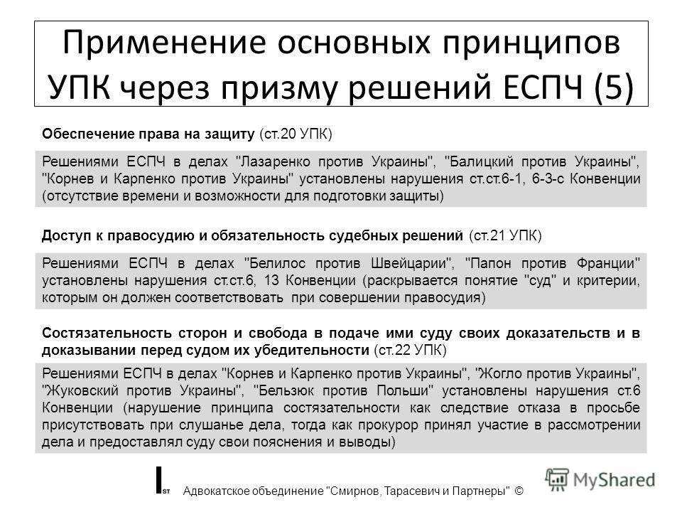 Применение основных принципов УПК через призму решений ЕСПЧ (5) Адвокатское объединение