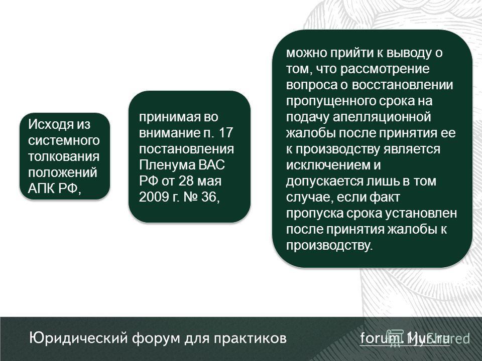 Исходя из системного толкования положений АПК РФ, принимая во внимание п. 17 постановления Пленума ВАС РФ от 28 мая 2009 г. 36, можно прийти к выводу о том, что рассмотрение вопроса о восстановлении пропущенного срока на подачу апелляционной жалобы п