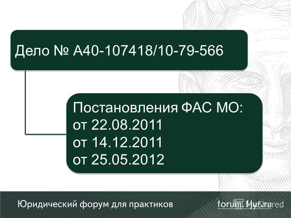 Постановления ФАС МО: от 22.08.2011 от 14.12.2011 от 25.05.2012 Постановления ФАС МО: от 22.08.2011 от 14.12.2011 от 25.05.2012 Дело А40-107418/10-79-566