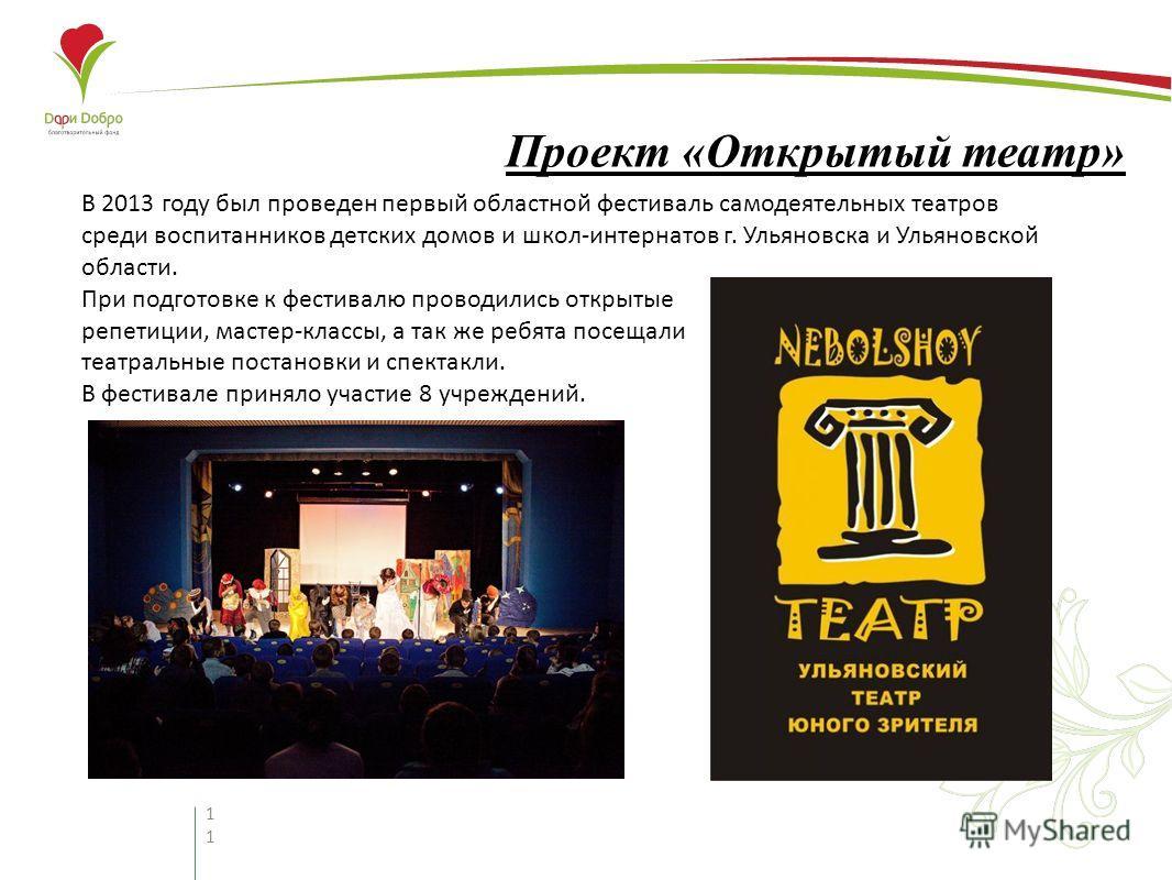 11 Проект «Открытый театр» В 2013 году был проведен первый областной фестиваль самодеятельных театров среди воспитанников детских домов и школ-интернатов г. Ульяновска и Ульяновской области. При подготовке к фестивалю проводились открытые репетиции,