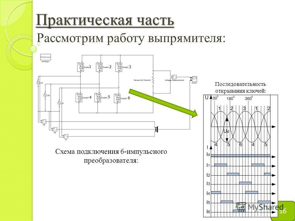 Практическая часть 16 Рассмотрим работу выпрямителя: Схема подключения 6-импульсного преобразователя: Последовательность открывания ключей:
