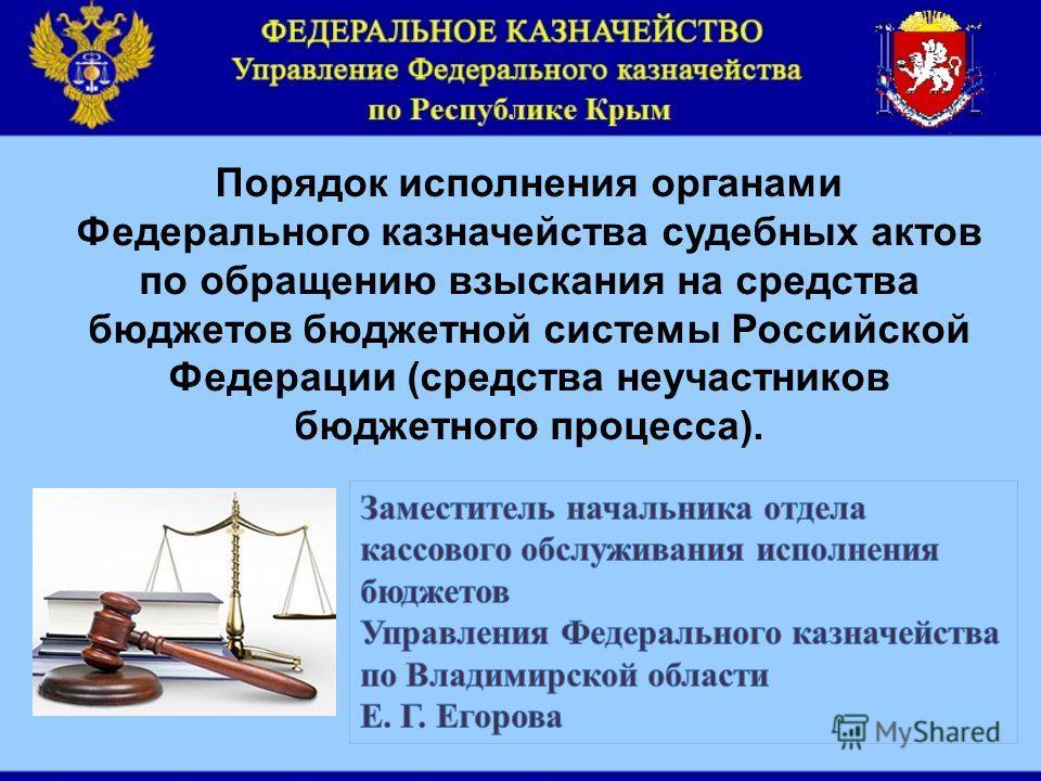 Порядок исполнения органами Федерального казначейства судебных актов по обращению взыскания на средства бюджетов бюджетной системы Российской Федерации (средства неучастников бюджетного процесса).