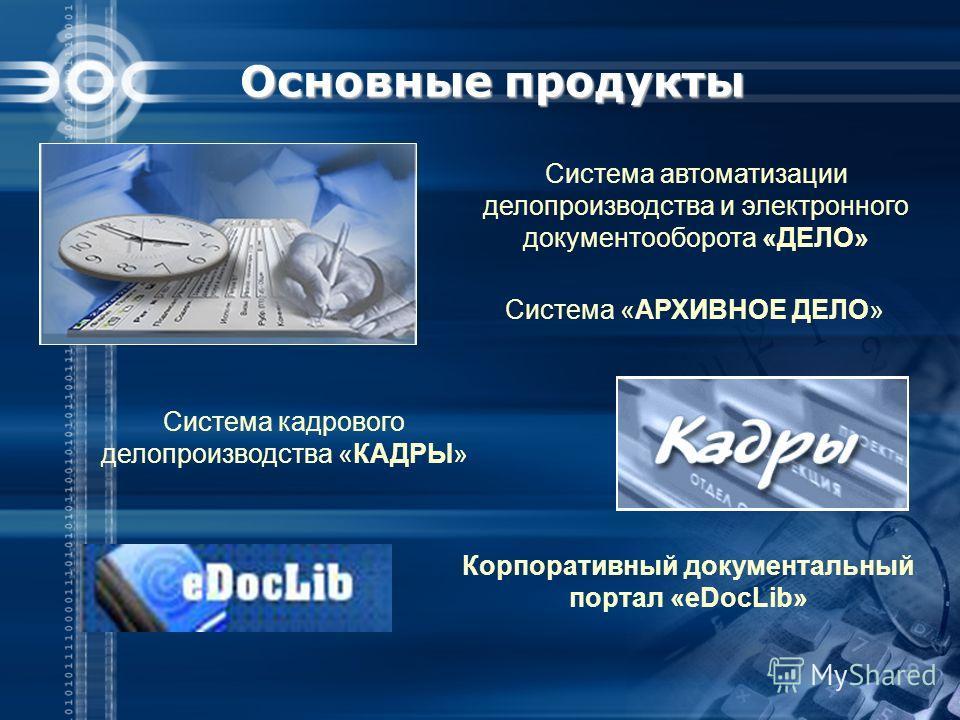 Основные продукты Система автоматизации делопроизводства и электронного документооборота «ДЕЛО» Система «АРХИВНОЕ ДЕЛО» Система кадрового делопроизводства «КАДРЫ» Корпоративный документальный портал «eDocLib»