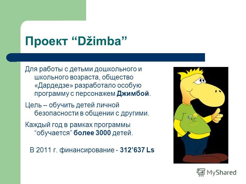 Проект Džimba Для работы с детьми дошкольного и школьного возраста, общество «Дардедзе» разработало особую программу с персонажем Джимбой. Цель – обучить детей личной безопасности в общении с другими. Каждый год в рамках программыобучается более 3000