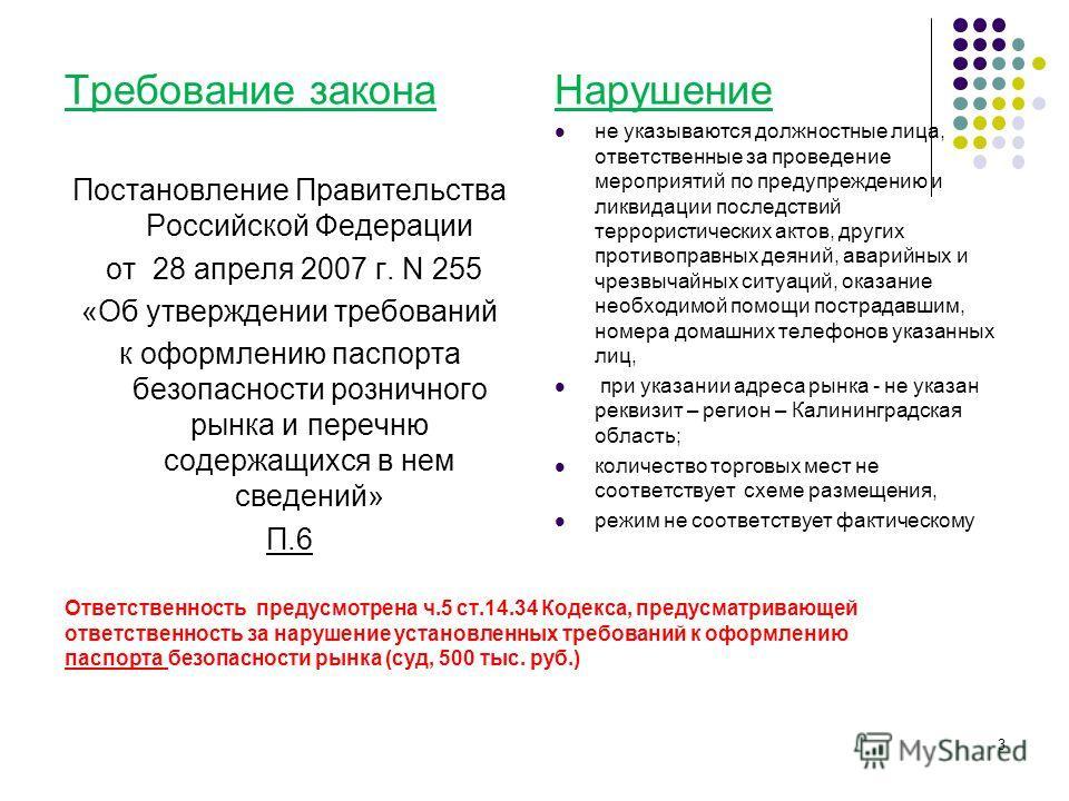 Ответственность предусмотрена ч.5 ст.14.34 Кодекса, предусматривающей ответственность за нарушение установленных требований к оформлению паспорта безопасности рынка (суд, 500 тыс. руб.) Требование закона Постановление Правительства Российской Федерац