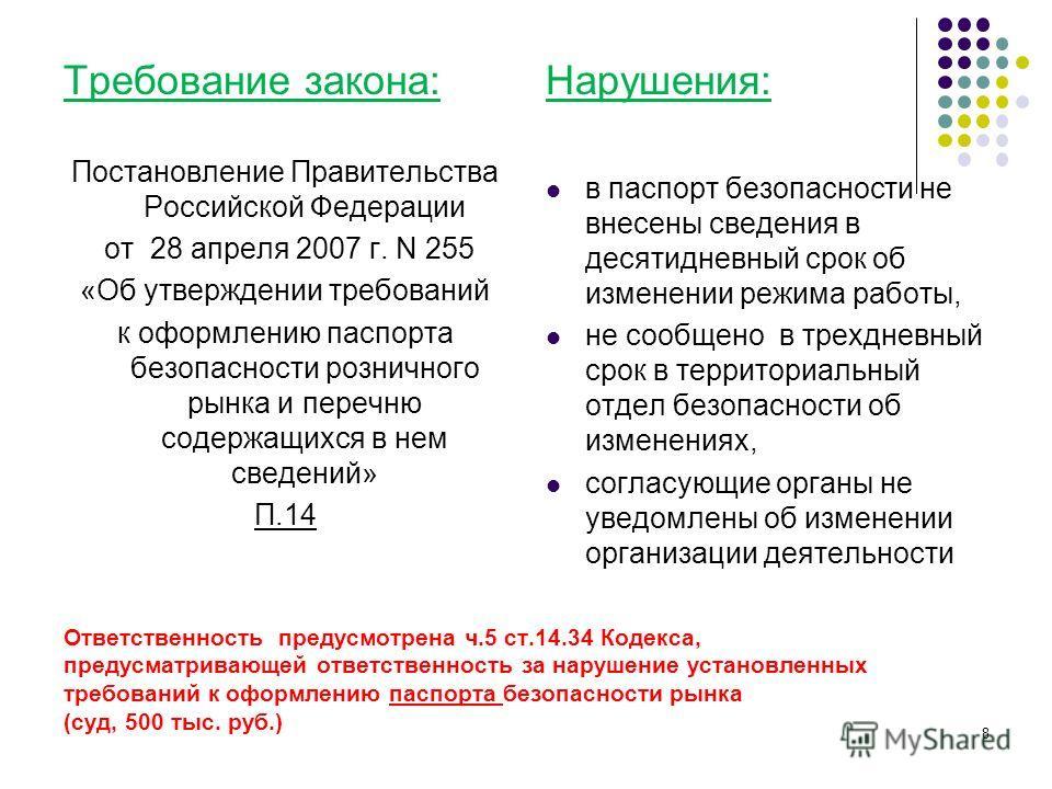 Ответственность предусмотрена ч.5 ст.14.34 Кодекса, предусматривающей ответственность за нарушение установленных требований к оформлению паспорта безопасности рынка (суд, 500 тыс. руб.) Требование закона: Постановление Правительства Российской Федера