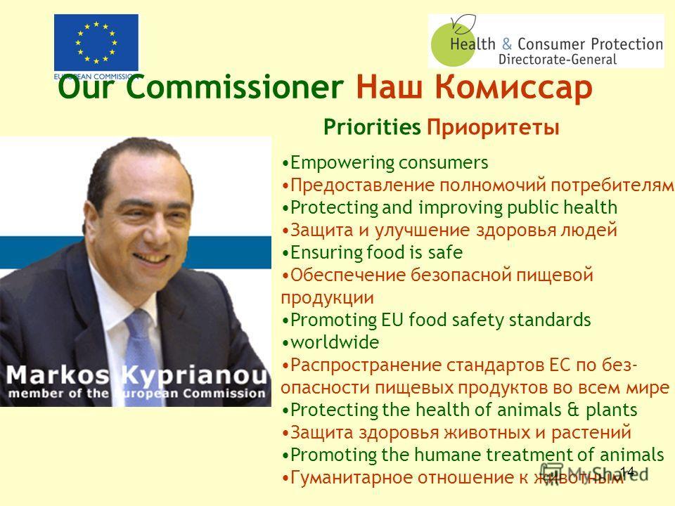 13 Health and Consumer Protection DG ГД Защита здоровья потребителей Europe working for healthier, safer, more confident citizens Европа работает для достижения более здоровых, более защищенных и более уверенных граждан