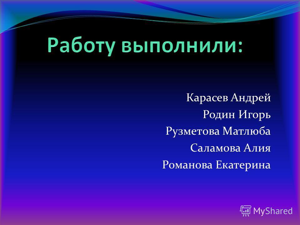Карасев Андрей Родин Игорь Рузметова Матлюба Саламова Алия Романова Екатерина